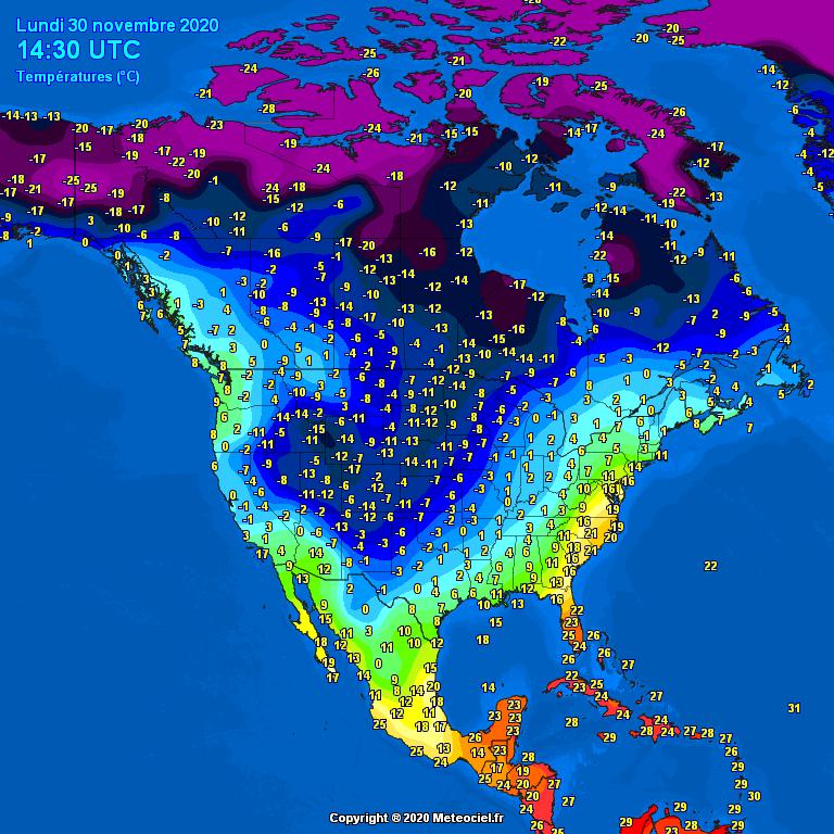 Temperatures North America #USA (Temperatura în America de Nord)