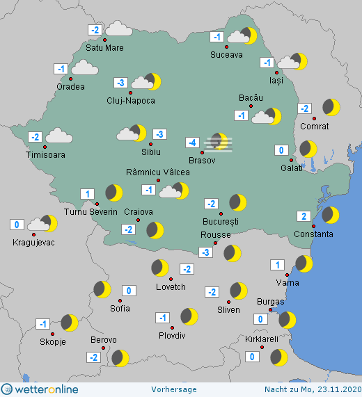 Prognoza meteo România  21 - 22 Noiembrie (Romania  forecast).