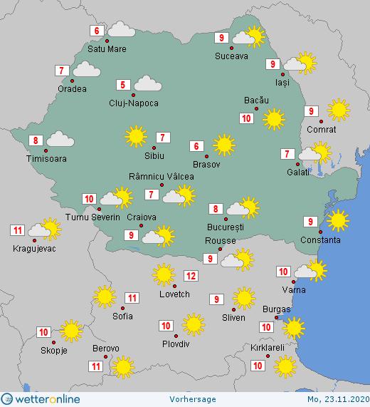 Prognoza meteo Romania 22 - 23 Noiembrie 2020 #Romania #vremea