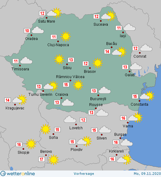 Prognoza meteo Romania 9 Noiembrie 2020 (Romania weather forecast)