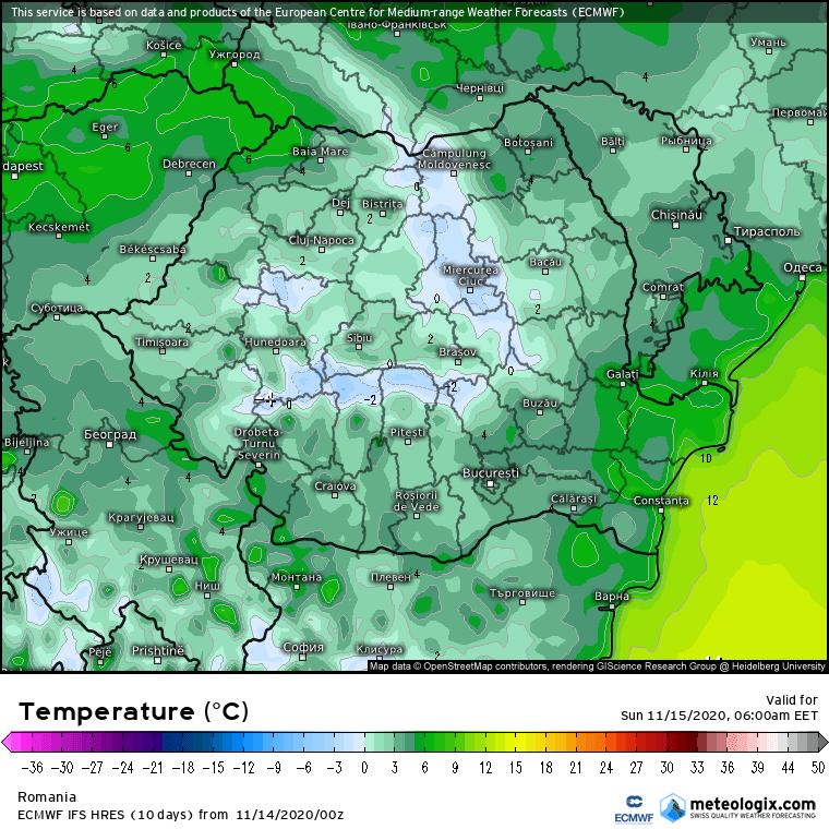 Prognoza meteo România  14 - 15 Noiembrie (Romania  forecast).