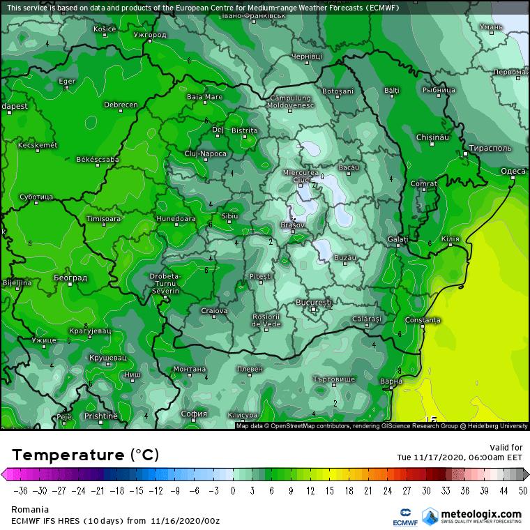 Prognoza meteo Romania 16 Noiembrie 2020 (Romania weather forecast)