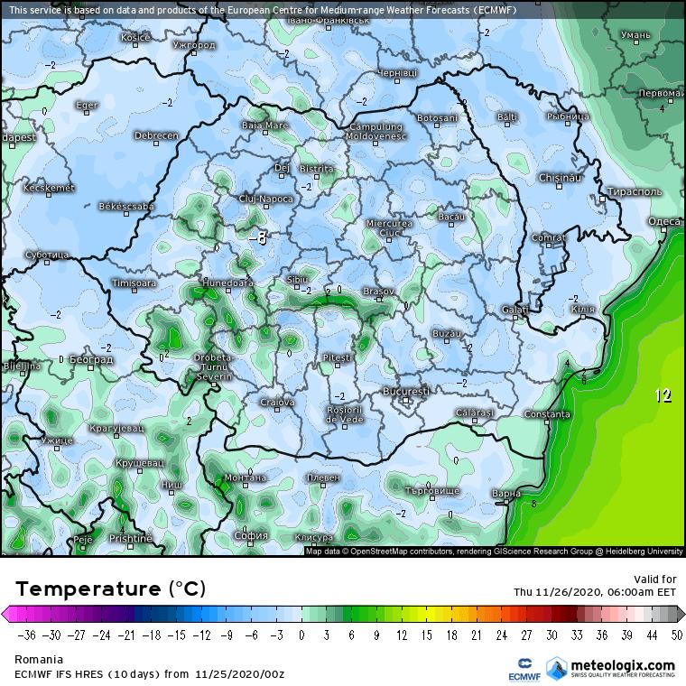 Prognoza meteo Romania 25 Noiembrie 2020 (Romania weather forecast)