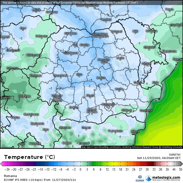 Prognoza meteo România  28 - 29 Noiembrie (Romania  forecast).