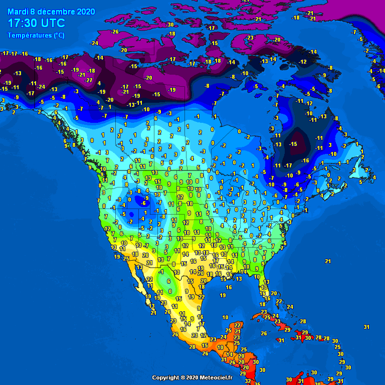 Temperatures North America #USA (Temperatura în America de Nord)