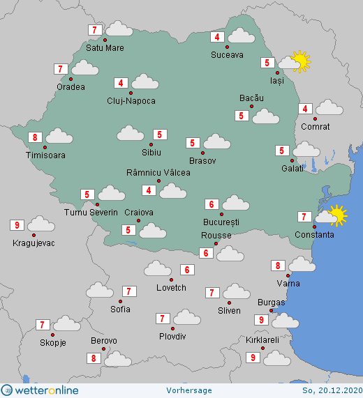 Prognoza meteo România  19 - 20 Decembrie (Romania  forecast).