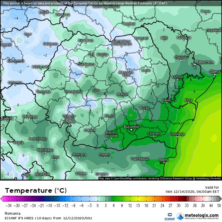 Prognoza meteo România  12 - 13 Decembrie (Romania  forecast).