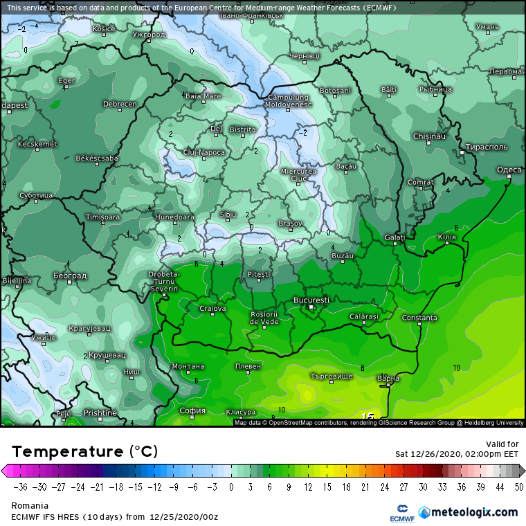 Prognoza meteo Romania 25 Decembrie 2020 (Romania weather forecast)