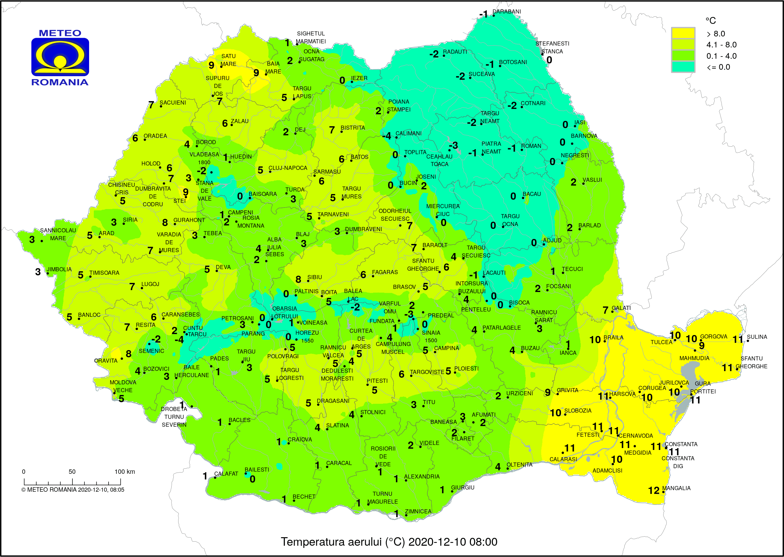 Temperaturile dimineții în România (ora 8) Temperaturi resimțite