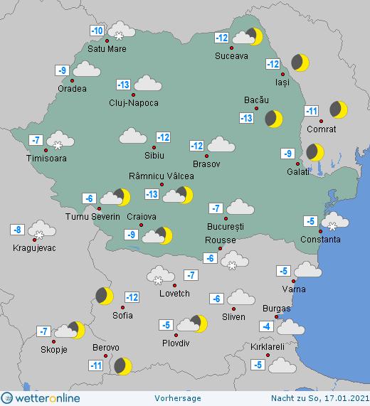 Prognoza meteo România  16 - 17 Ianuarie (Romania  forecast).