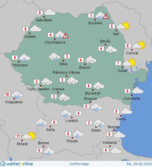 Prognoza meteo România  20 - 21 Februarie (Romania  forecast).