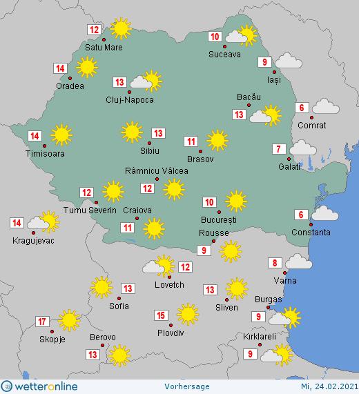 Prognoza meteo Romania 24 Februarie 2021 (Romania weather forecast)