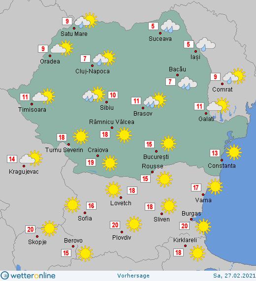Prognoza meteo România  27 - 28 Februarie (Romania  forecast).