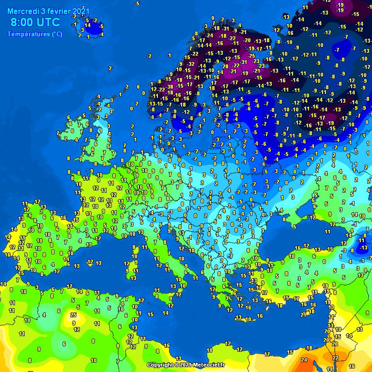 Temperatures on Europe this morning - Major cities (Temperaturile în Europa)
