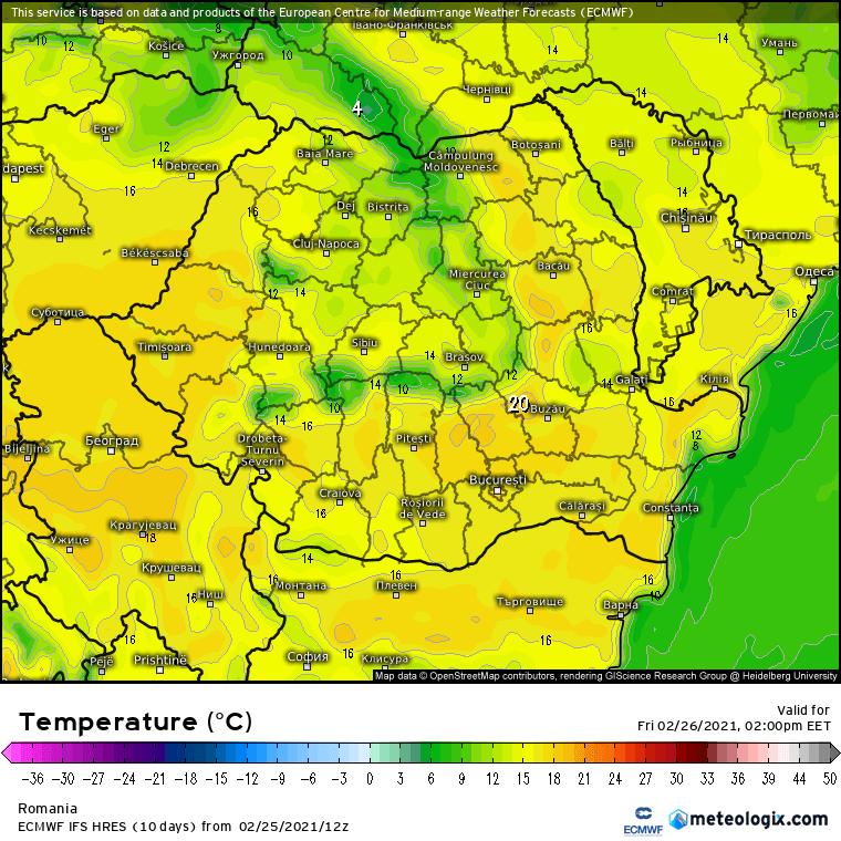 Prognoza meteo Romania 26 Februarie 2021 (Romania weather forecast)