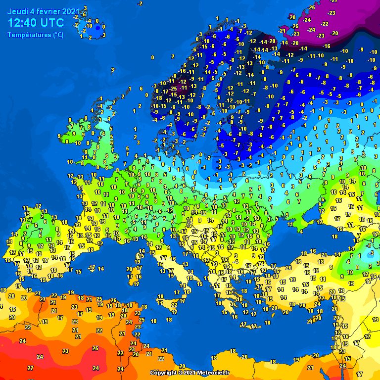 Temperatures Europe at noontime (Temperaturile pranzului în Europa)