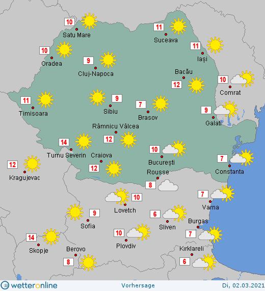 Prognoza meteo Romania 2 Martie 2021 (Romania weather forecast)