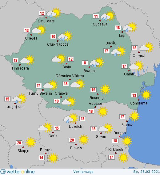 Prognoza meteo România  27 - 28 Martie (Romania  forecast).