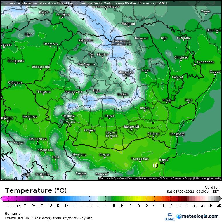 Prognoza meteo România  20 - 21 Martie (Romania  forecast).