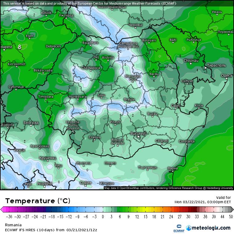 Prognoza meteo Romania 22 Martie 2021 (Romania weather forecast)