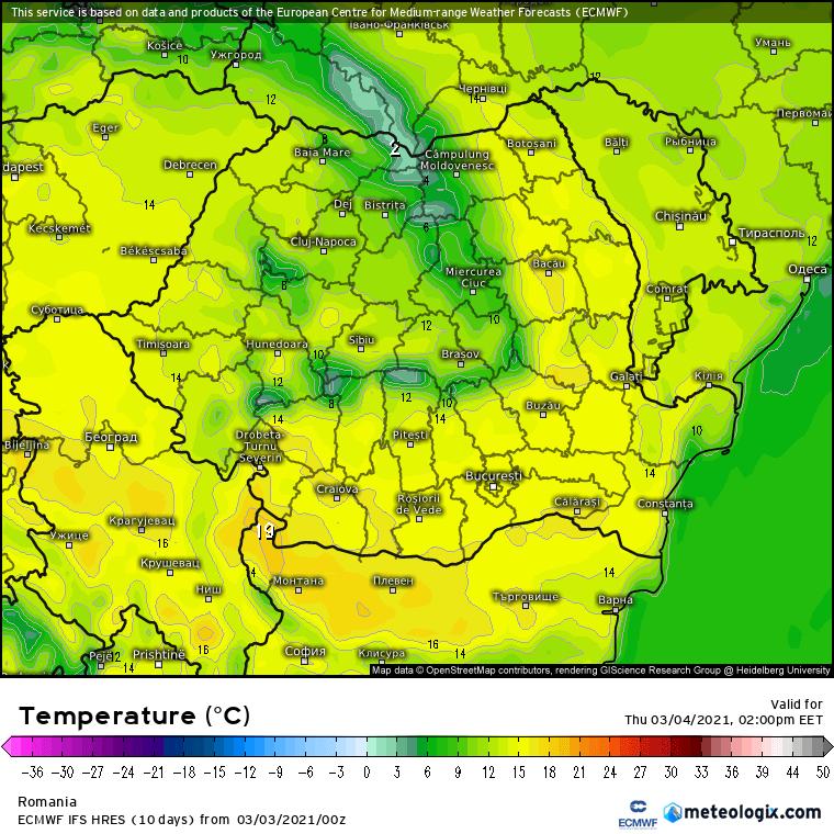 Prognoza meteo Romania 3 Martie 2021 (Romania weather forecast)