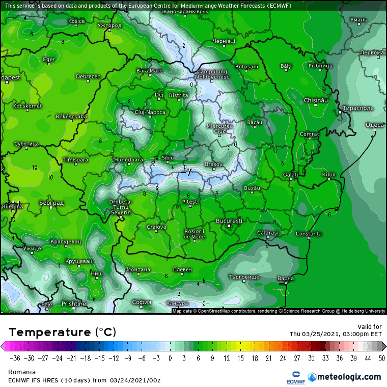 Prognoza meteo Romania 24 Martie 2021 (Romania weather forecast)
