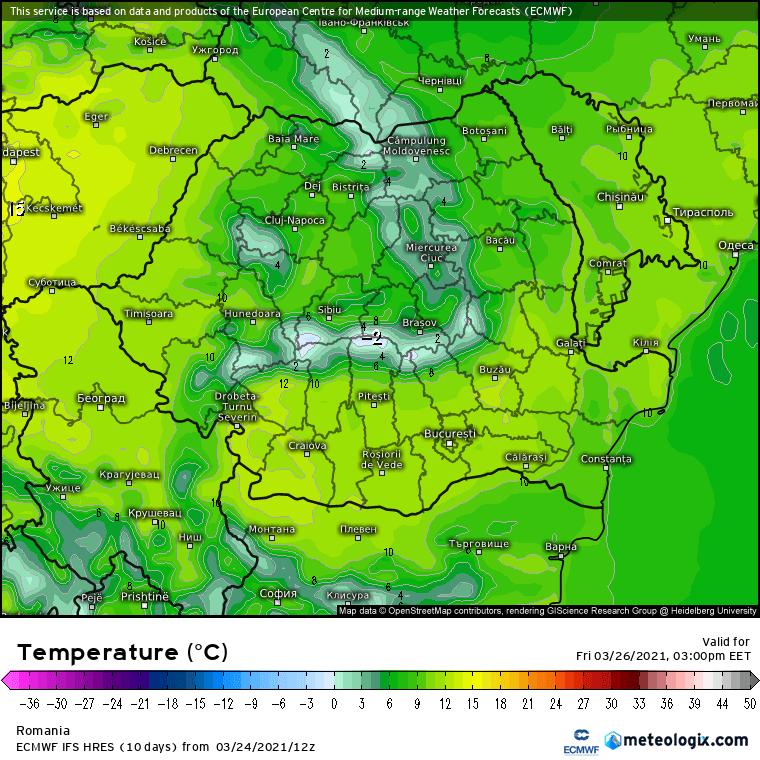 Prognoza meteo Romania 25 Martie 2021 (Romania weather forecast)