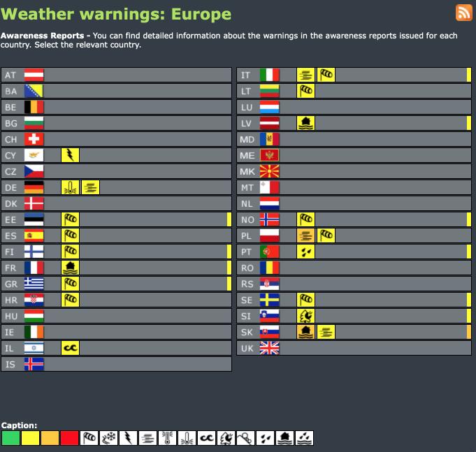 Weather warnings Europe #advisory #watch (Avertizări meteo în Europa)