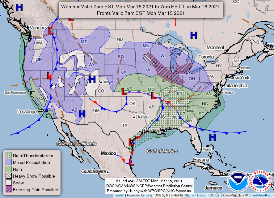 USA weather warnings #rainfall (Avertizari meteo în USA)