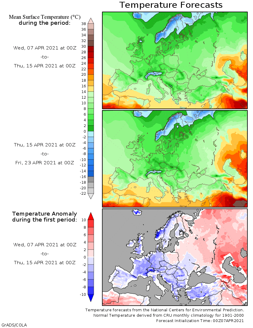 Weather forecast 2 weeks #Europe #USA (Temperaturi și precipitații)