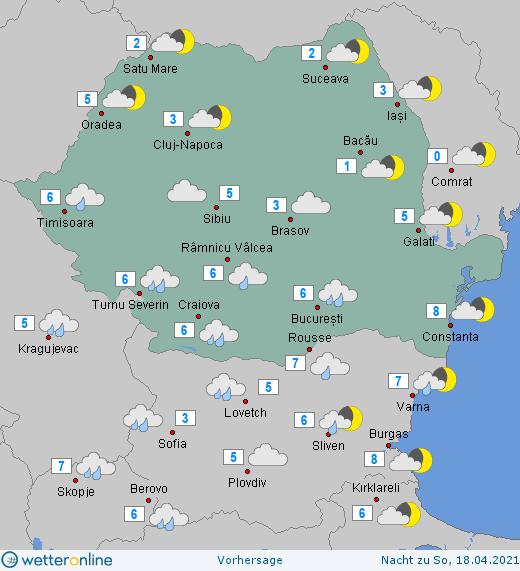 Prognoza meteo România  17 - 18 Aprilie (Romania  forecast).