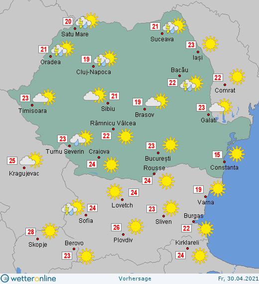 Prognoza meteo Romania 30 Aprilie 2021 (Romania weather forecast)