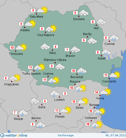 Prognoza meteo Romania 7 Aprilie 2021 #Romania #vremea