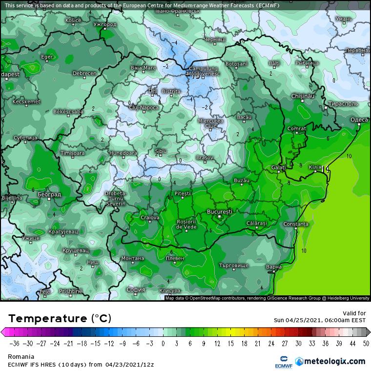 Prognoza meteo România  24 - 25 Aprilie (Romania  forecast).