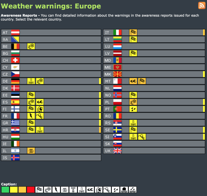 Weather warnings Europe #advisory #watch (Avertizări meteo în Europa)
