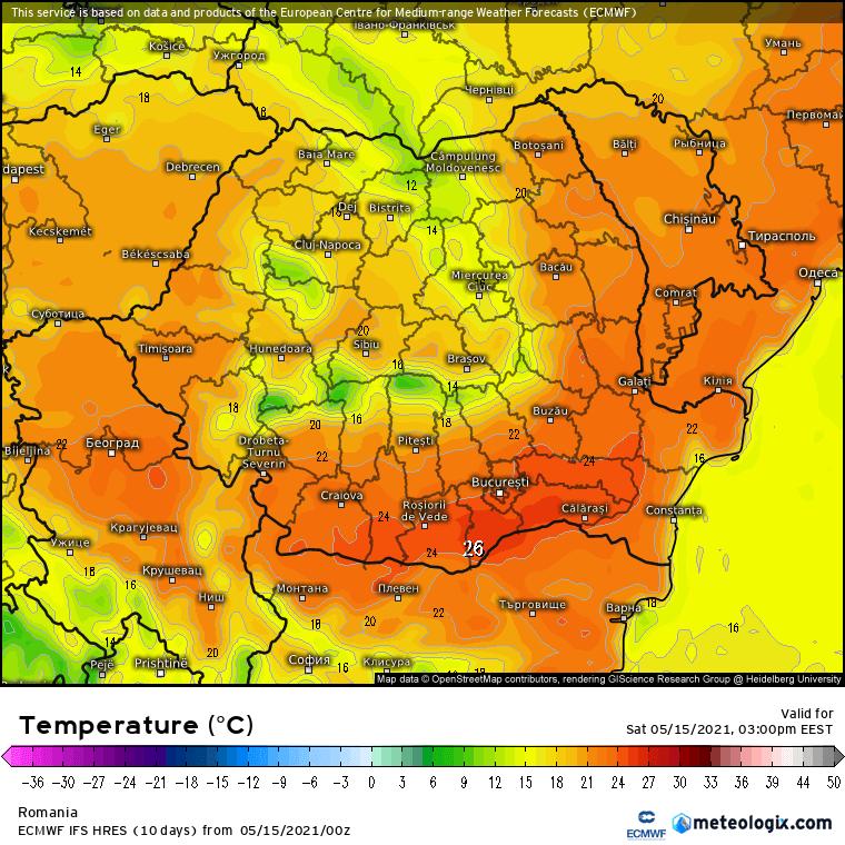Prognoza meteo România  15 - 16 Mai (Romania  forecast).