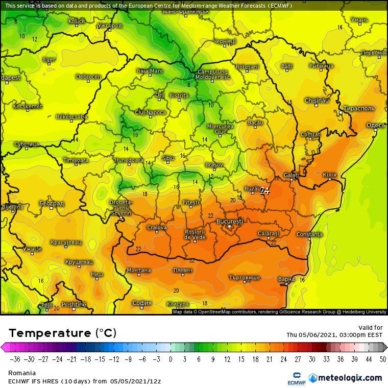 Prognoza meteo Romania 6 Mai 2021 (Romania weather forecast)