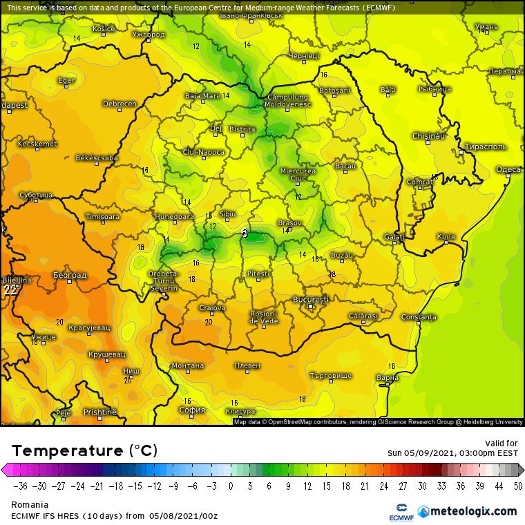Prognoza meteo România  8 - 9 Mai (Romania  forecast).