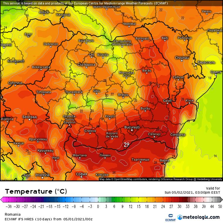 Prognoza meteo România  1 - 2 Mai (Romania  forecast).