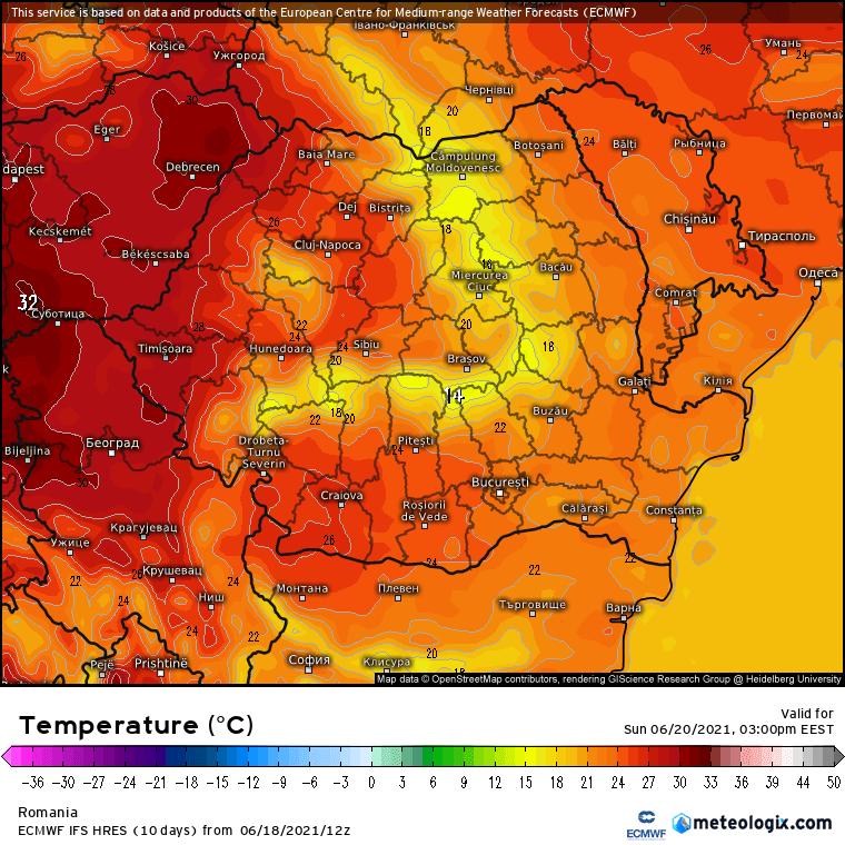 Prognoza meteo România  19 - 20 Iunie (Romania  forecast).