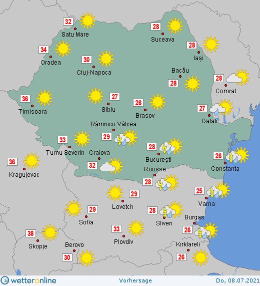 Prognoza meteo Romania 8 Iulie 2021 #Romania #vremea