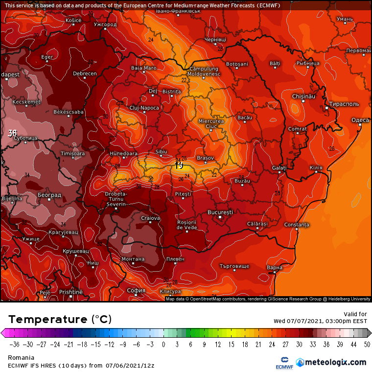 Prognoza meteo Romania 7 Iulie 2021 (Romania weather forecast)
