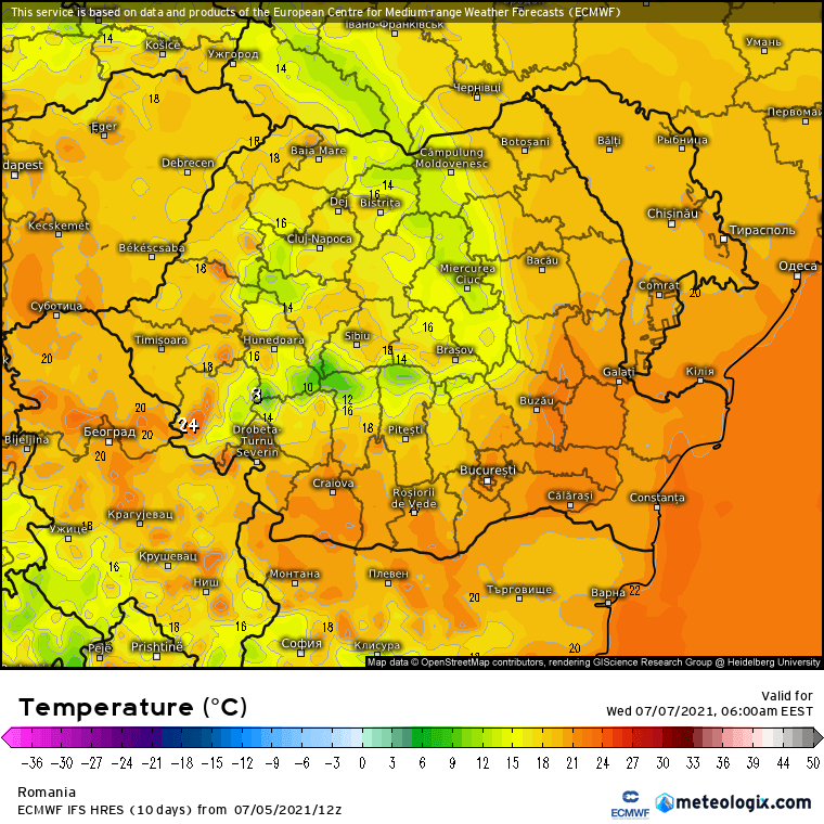 Prognoza meteo Romania 6 Iulie 2021 (Romania weather forecast)