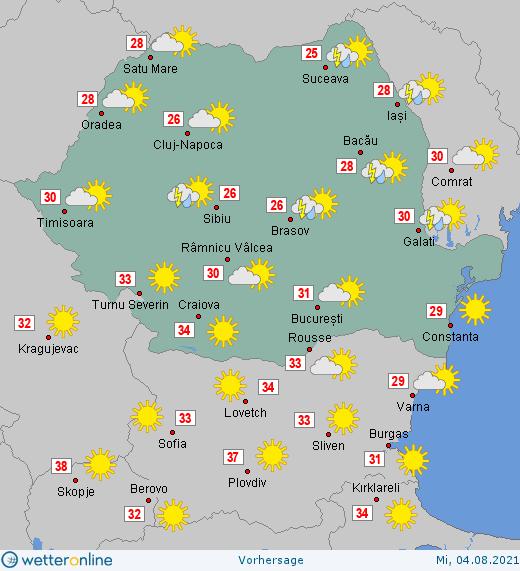 Prognoza meteo Romania 4 August 2021 #Romania #vremea