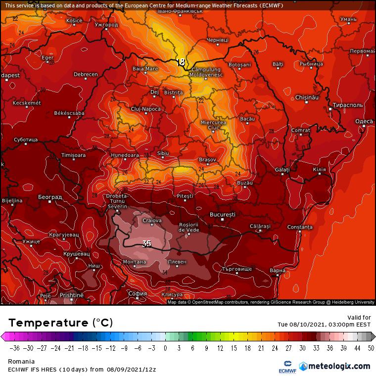 Prognoza meteo Romania 10 August 2021 (Romania weather forecast)