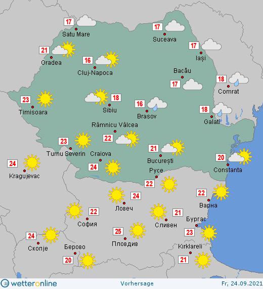 Prognoza meteo Romania 24 Septembrie 2021 (Romania weather forecast)