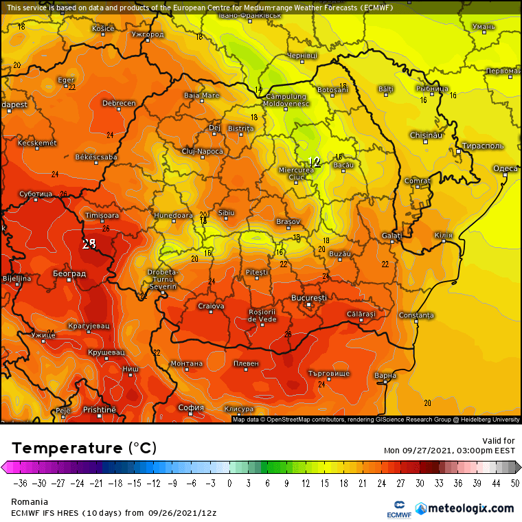 Prognoza meteo Romania 27 Septembrie 2021 (Romania weather forecast)
