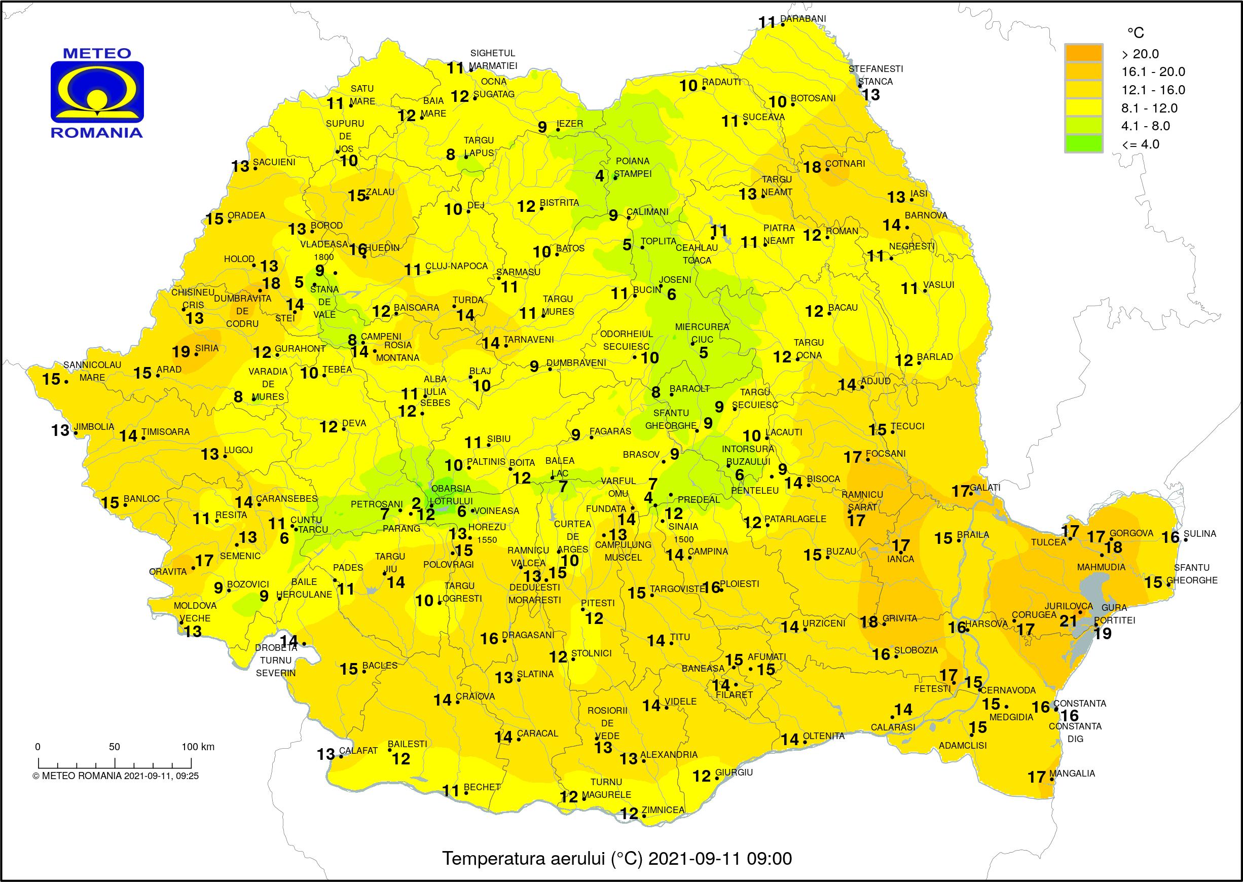 Temperaturile dimineții în România (ora 9) Temperaturi resimțite