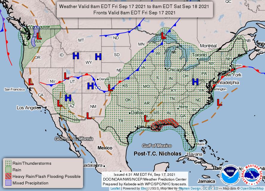 USA weather warnings #rainfall (Avertizari meteo în USA)