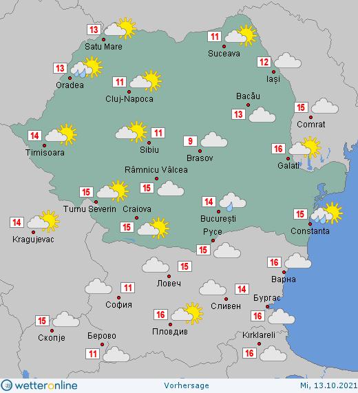 Prognoza meteo Romania 13 Octombrie 2021 (Romania weather forecast)